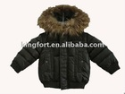 Children's down coat with real racc**n fur hood