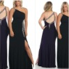 Top Online A-line One Shoulder Full Length Black Sexy Split Evening Gown