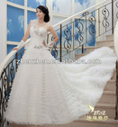 Charming One-shoulder Dress with Pleats Beads Flowers Diamonds Popular A-line Tulle Bridal Wedding Dress WD-B139