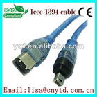 transparent blue 1394 cable 6pin to 4pin cable
