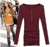 100% cotton O neck bottoming shirt lady's fashion clothes spring new designed clothing