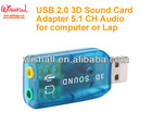 USB2.0 3D Sound Card Adapter 5.1CH Audio for Computer or Laptop