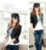 Ladies Black Faux Leather PU Gold Zip Crop Biker Jacket Long Sleeve
