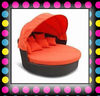 Bright Color Round Lounge With Cushion And Pillow Wicker Canopy Bed