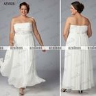 AZV026 Strapless A-line Chiffon Plus size evening Gowns
