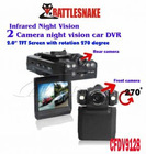 Dual lens DVR with 2.0`` TFT LCD screen,Infrared Night Vision with 2PCS LEDlight,Auto-ecording