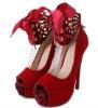 New Women's Suede Ankle Strap Pumps High Heels Shoes Black 14cm Heels