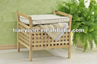 walnuss holz ,solid wooden storage stool,oiled,with cushion,criss cross