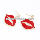 New Coming Gold Metal Rhinestone Sexy Lips Drop Stud Earrings