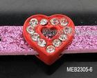 8mm DIY rhinestone slide heart charm for bracelet