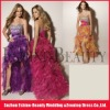 Hot sale multicoloured organza high low short front long back prom dress